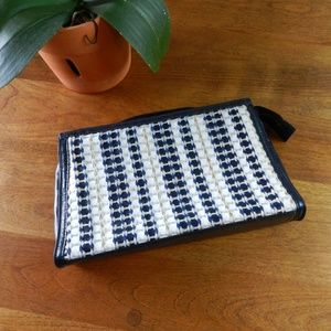 Vintage Bags - Vintage Navy Woven Clutch